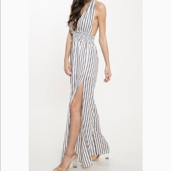 ab434301f71 L ATISTE Vertial Striped Plunge Jumpsuit Small